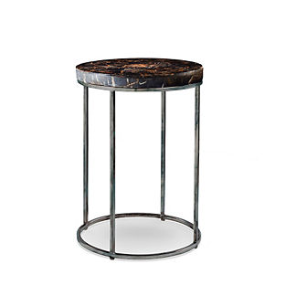 Petrified Wood Side Table with Black Iron Frame