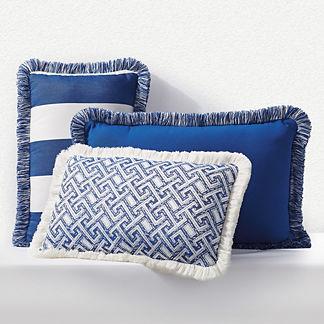 Outdoor Lumbar Pillow with Fringe