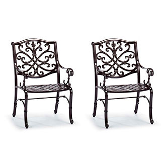 Orleans Dining Arm Chairs in Chocolate Finish, Set of Two