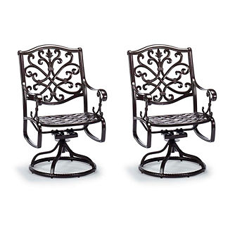 Orleans Swivel Dining Arm Chairs in Chocolate Finish, Set of Two