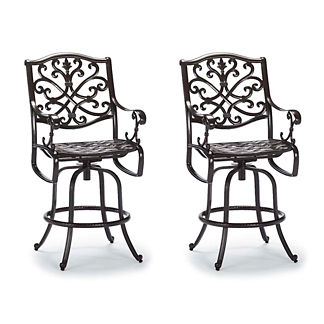 Orleans Set of Two Swivel Bar Stools in Chocolate Finish
