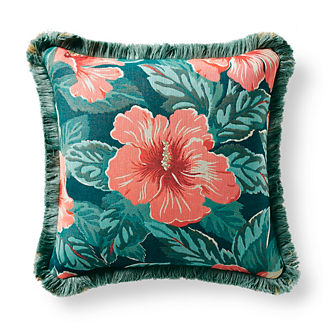 Hibiscus Beauty Apricot Outdoor Pillow