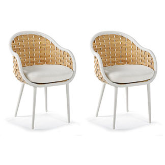 Modern Sleek Outdoor Furniture. Ravello Set Of Two Dining Chairs With  Cushions, Special Order