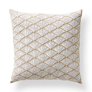 Beaded Fan Decorative Throw Pillow