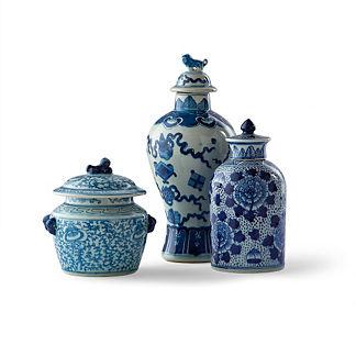 Blue Ming Vases, Set of Three