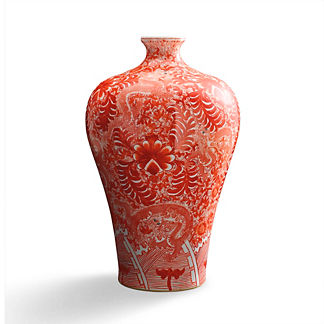 Coral and White Chinoiserie Large Dragon Vase