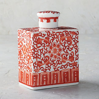 Coral Ming Small Rectangular Lidded Jar