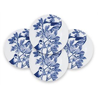 Blue Arbor Dessert Plates, Set of Four