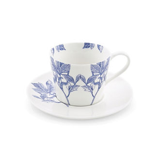 Blue Arbor Handled Cup & Saucer