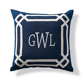 Oikos Indigo Monogrammed Outdoor Pillow
