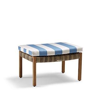 Isola Ottoman Chair Cushion in Resort Stripe Air Blue