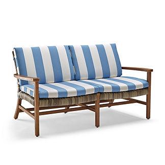 Isola Loveseat Cushions in Resort Stripe Air Blue