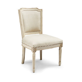 Ainsley Shield Back Side Chair in Antique White Finish