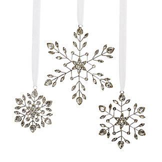 Vintage Jeweled Snowflake Ornaments, Set of Three
