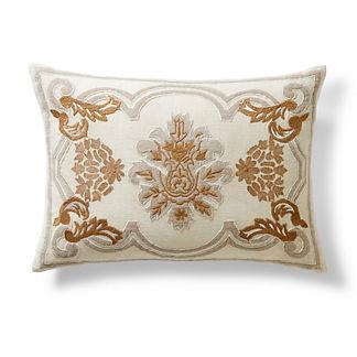 Embroidered Flourished Lumbar Pillow
