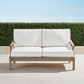 Cassara Loveseat with Cushions in Weathered Finish, Special Order