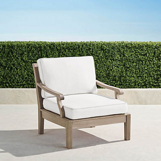 Cassara Lounge Chair with Cushions in Weathered Finish, Special Order
