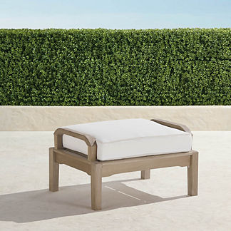 Cassara Ottoman with Cushion in Weathered Finish, Special Order