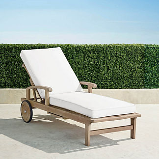 Cassara Chaise Lounge with Cushions in Weathered Finish, Special Order