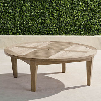 Teak Chat Table in Weathered Finish