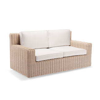 Hyde Park Loveseat with Cushions in Ivory Finish