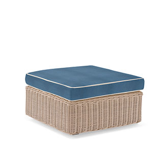 Hyde Park Ottoman with Cushion in Ivory Finish