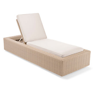 Hyde Park Chaise Lounge with Cushions in Ivory Finish