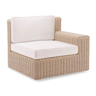 Hyde Park Right-facing Arm Chair with Cushions in Ivory Finish