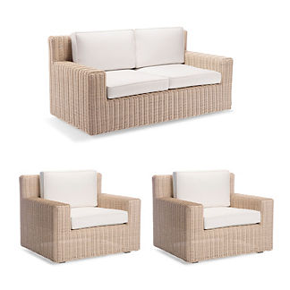 Hyde Park 3-pc. Loveseat Set in Ivory Finish