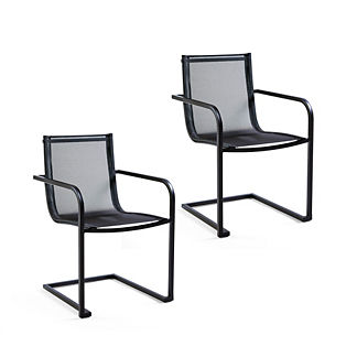 Palazzo Carbon Sling Dining Arm Chairs, Set of Two