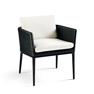 Palazzo Carbon Woven Dining Arm Chairs with Cushions, Set of Two