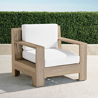 St. Kitts Lounge Chair in Weathered Teak with Cushions