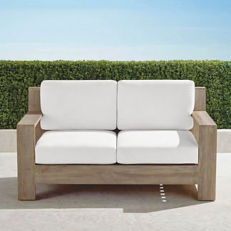 St. Kitts Loveseat in Weathered Teak with Cushions, Special Order