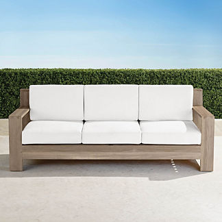 St. Kitts Sofa in Weathered Teak with Cushions, Special Order