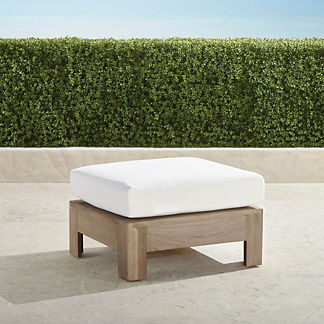 St. Kitts Ottoman in Weathered Teak with Cushion, Special Order