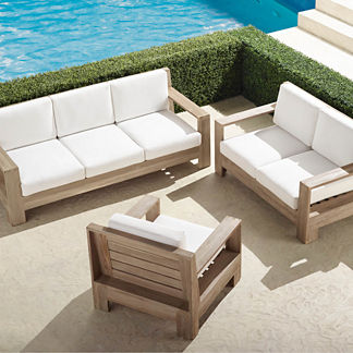 St. Kitts 3-pc. Sofa Set in Weathered Teak