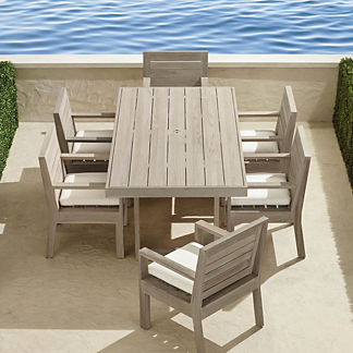 St. Kitts 7-pc. Rectangular Dining Set in Weathered Teak
