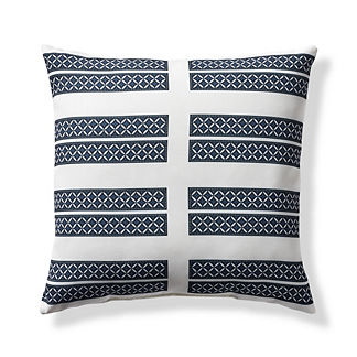 Medallion Stripe Blue Outdoor Pillow
