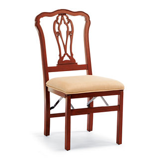 Chippendale Pierced Back Folding Chairs, Set of Two
