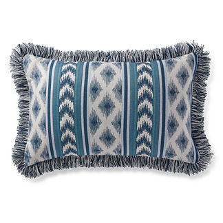 Ensenada Stripe Indigo Outdoor Lumbar Pillow