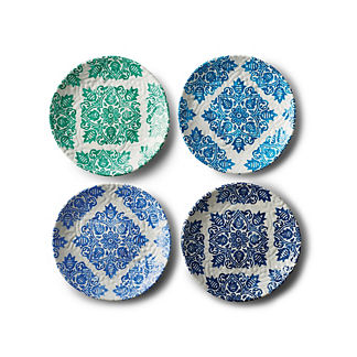 Reactive Blue Mixed Appetizer Plates, Set of Four