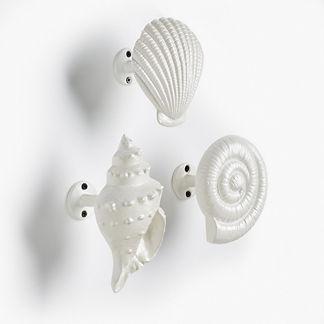 Decorative Shell Hooks, Set of Three