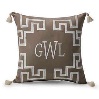 Dynasty Monogram Sand Outdoor Pillow