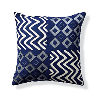 Four Square Indigo Outdoor Throw Pillow