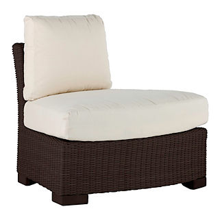 Club Woven Outside Round Corner Chair with Cushions by Summer Classics