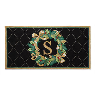 Winter Wreath Holiday Monogrammed Door Mat