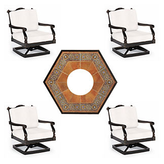 Glen Isle 5-pc. Verona Fire Chat Set in Midnight Gold Finish