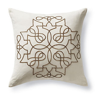 Vanda Gold Beaded Decorative Pillow
