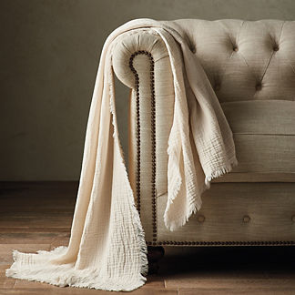 Cotton Gauze Frayed Throw