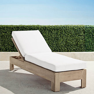 St. Kitts Chaise Lounge in Weathered Teak with Cushions, Special Order
